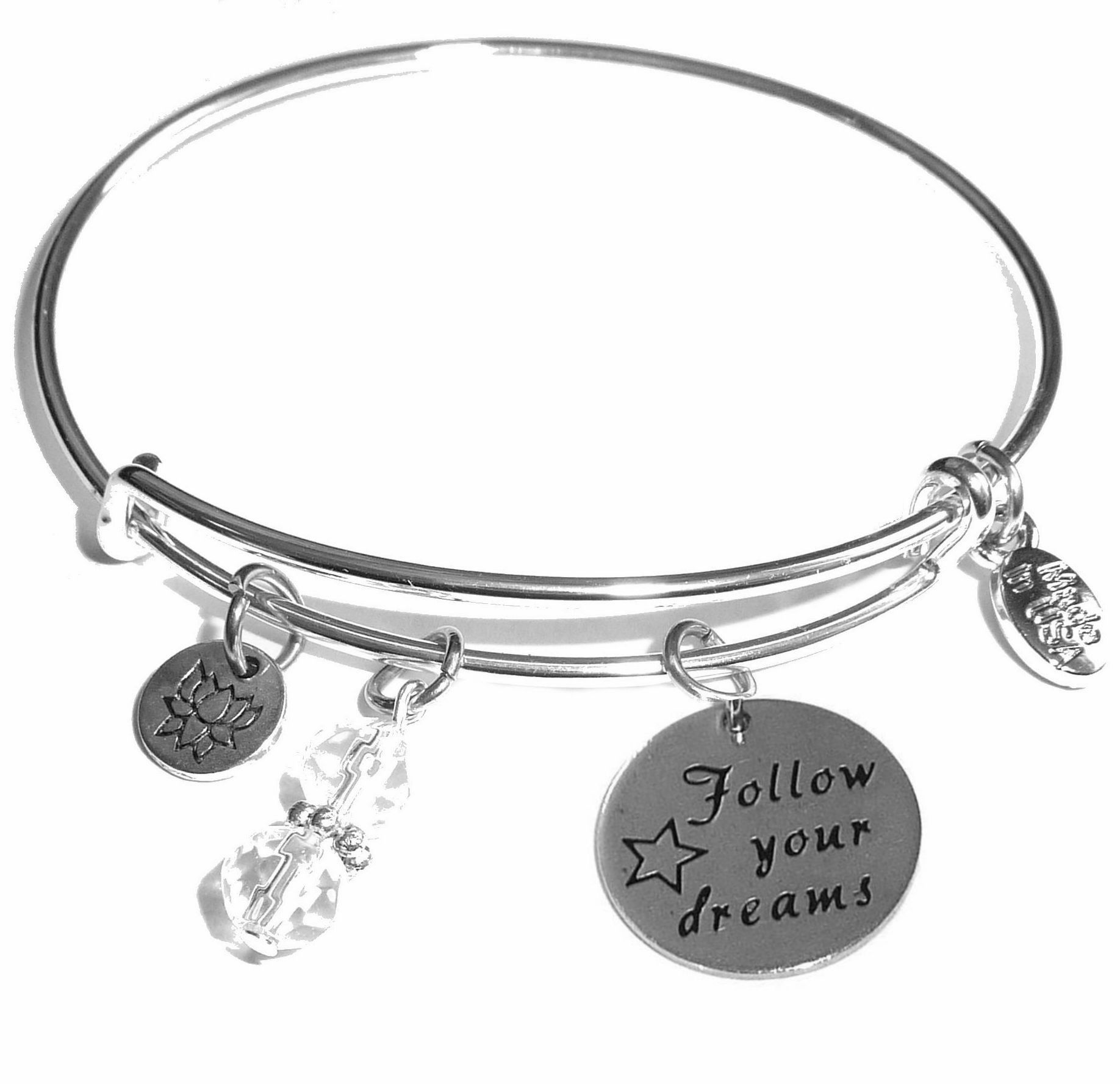 Follow Your Dreams Message Bangle Bracelet Expandable Wire Comes In A Gift Box